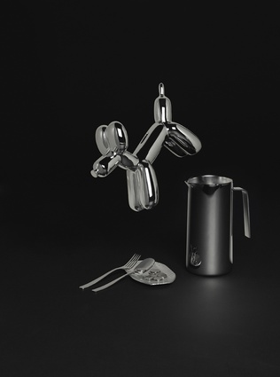 Chrome Dog Bank; KNIFEFORKSPOON Collection for Alessi; Hammered Aluminium Plate; Thermo Insulated Jug by Kristiina Lassus for Alessi.