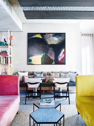 The mezzanine lounge celebrates tactility, craft and craftsmanship. Artwork: Night's Provocation by Lesley Munro.
