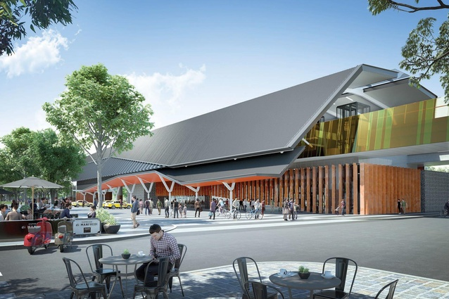 A street view of Mernda station by Grimshaw Architects.