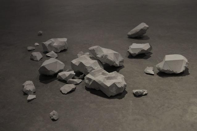 Tom Borgas, Post digital Artefacts (detail), 2013, concrete.