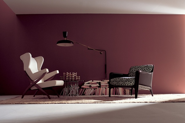 Fiorenza armchair by Franco Albini and Cocca armchair by Carlo Colombo.