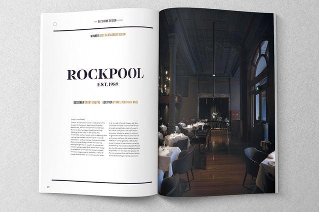 Rockpool by Grant Cheyne, winner of the Best Restaurant Design category at the 2014 Eat Drink Design Awards.