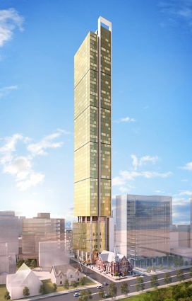 The proposed hotel tower by Cox Howlett and Bailey Woodland.