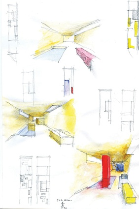 Concept sketches of the brightly coloured basement grotto.