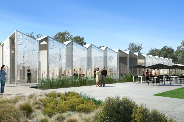Completion date – 2013. Christchurch Botanic Gardens by Patterson Associates includes a cafe, information point, conference room, research library, laboratories, propagation greenhouses and working staff facilities in a modified commercial greenhouse structure.
