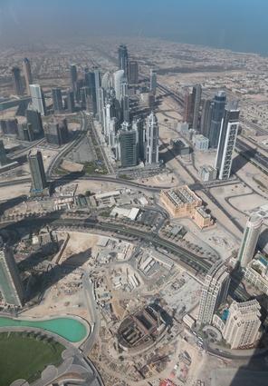 A view across Dubai from the top of the Burj Khalifa.
