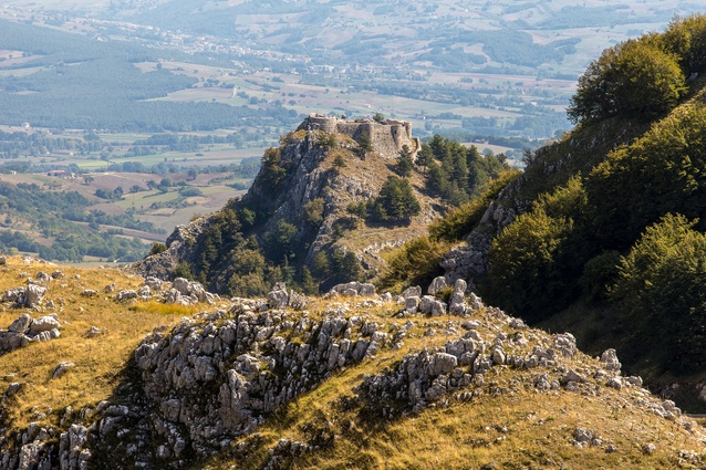 A view of ruins of Italy's Castle of Roccamandolfi.