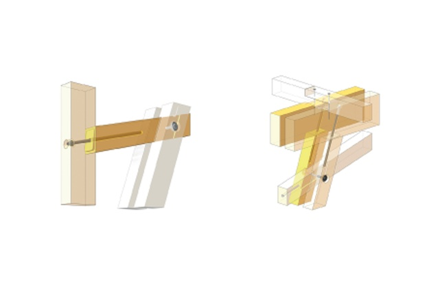 Brace-to-glulam and brace-to-beam joints.
