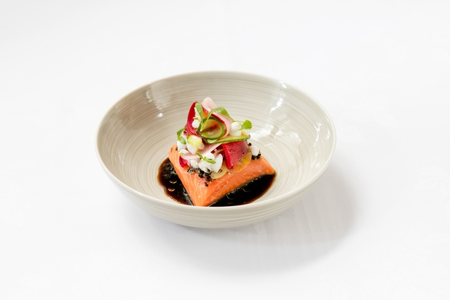 Ora King Salmon, Spanner Crab, fragrant eggplant and black vinegar.
