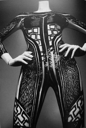 A McQueen bodysuit, the inspiration behind the Turbine rug.