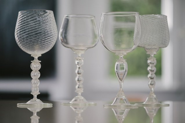 """5 Wine glasses: """"They were a set of 12, a few have been broken, usually when we're cleaning them. They're made by Luke Jacomb, and every single one of them is different."""""""