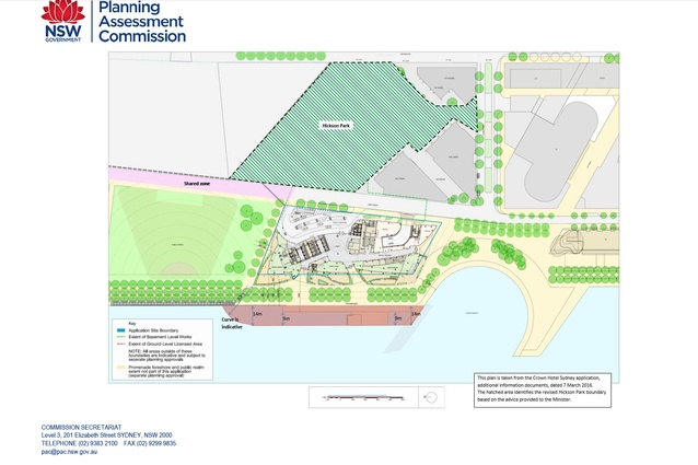The Planning and Assessment Commission's recommendations for a continuous, unemcumbered 30-metre-wide promenade in front of the Wilkinson Eyre-designed Barangaroo tower, and a larger Hickson Park.