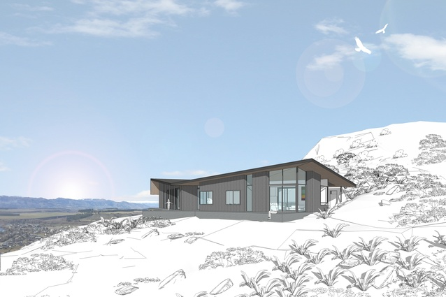 Harrier House, Wanaka. The project is due to start early 2017. Features a faceted roof and a sheltered courtyard.