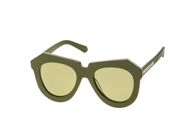 "One Meadow khaki and gold sunglasses | <a href=""http://www.karenwalker.com/One-Meadow-Khaki-Gold-P2974.aspx"" target=""_blank""><u> $369 from Karen Walker.</u></a>"