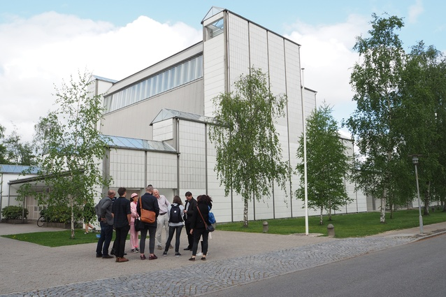 The Dulux Study Tour group outside the Bagsvaerd Church, Copenhagen, designed in 1976 by Jørn Utzon.