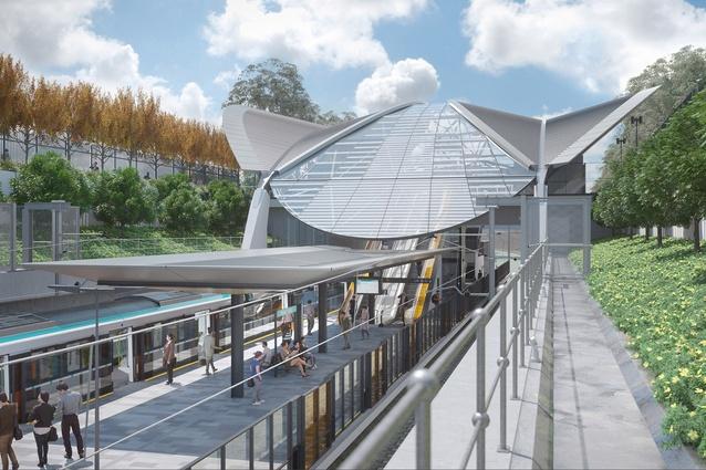 Sydney Metro Northwest's Bella Vista station, designed by Hassell.