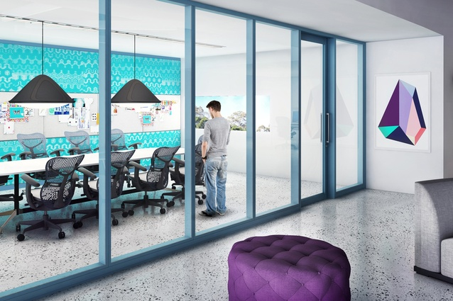 Shift partitioning with clear glass panels.