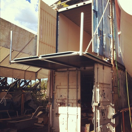 Wilson's studio taking shape inside two freight containers in a shipyard in Sydney's Rozelle.