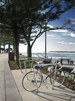 Bike racks and benches are provided for users of Bulcock Beach.