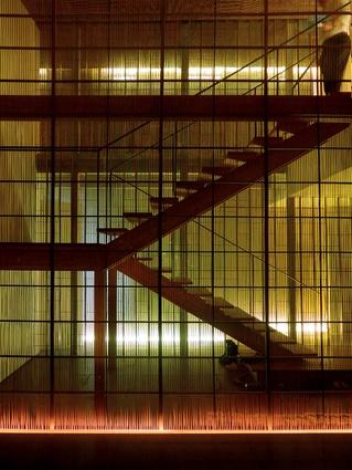Stairwell of the Ginzan Onsen Fujiya hotel.