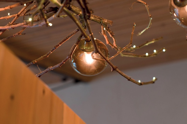 The glass spheres on the lights were hand-blown at Lava Glass in Taupo.