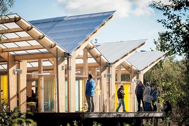 Udeforsamlingshus, a recreational, semi-outdoor community hub in the small rural village of Fjelstervang.