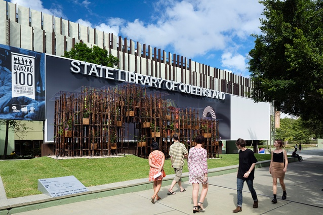 Vo Trong Nghia's Green Ladder, commissioned by the Sherman Contemporary Art Foundation, was erected on the front lawn of the State Library of Queensland for the inaugural Asia Pacific Architecture Forum in 2016.