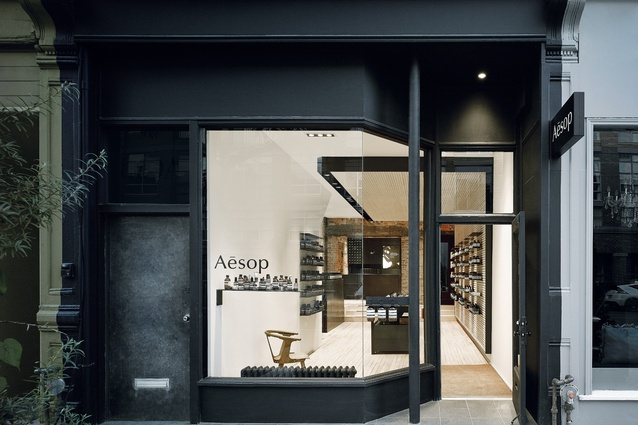 Opened in 2015, Aesop's first Canadian store in Toronto's Queen Street West was designed by Superkül.