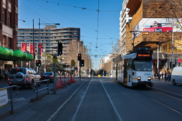 Looking south along Swanston St.