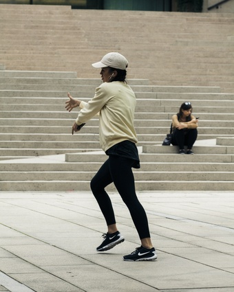 A dancer practicing at Robson Square in downtown.