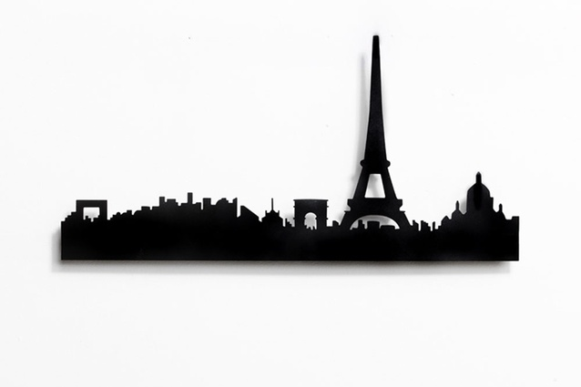 Paris skyline coat rack by Catherine David Design.
