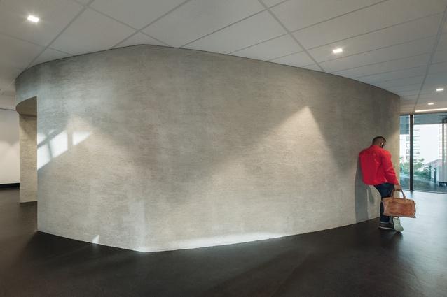 Curved concrete hides the dispatch area.