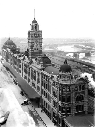 An historic image of Flinders Station.