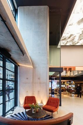 The sober and robust form of the building accommodates textured and opulent interiors, designed by Indyk Architects and Nicholas Graham and Associates.