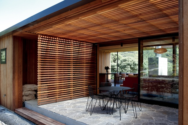 Cedar battens screen the rear courtyard, providing a measure of protection from the elements, yet still keeping the space open.