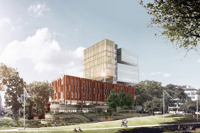 The proposed Inner Sydney High School designed by FJMT will be situated at the edge of Prince Alfred Park.