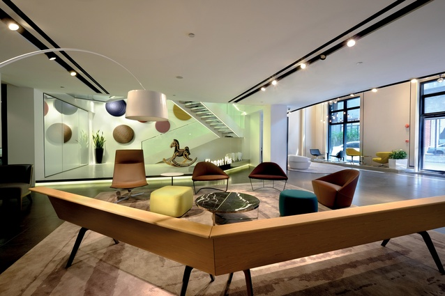 The lobby in Element Plus' new building in Shanghai, by PDM International.
