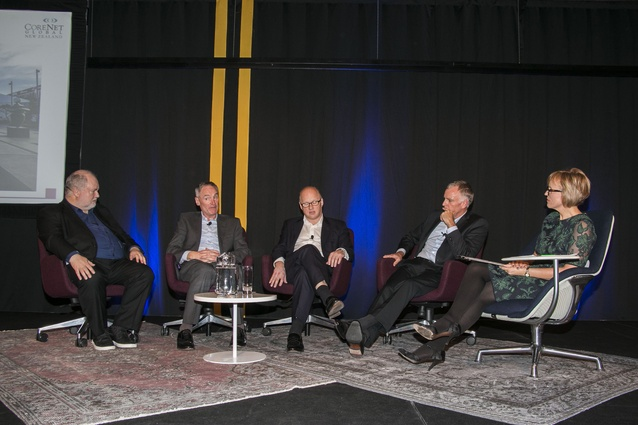 Hilary Barry hosts a panel of keynote speakers (L-R): Dennis Pieprz (Sasaki Associates), Chris Kane (Chris Kane Associates), Richard Howard (Cushman & Wakefield London) and Rod Marler (Panuku Development Auckland).