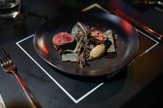Gareth Stewart's main: wild shot venison with leek ash, black trompette mushroom and fermented garlic.