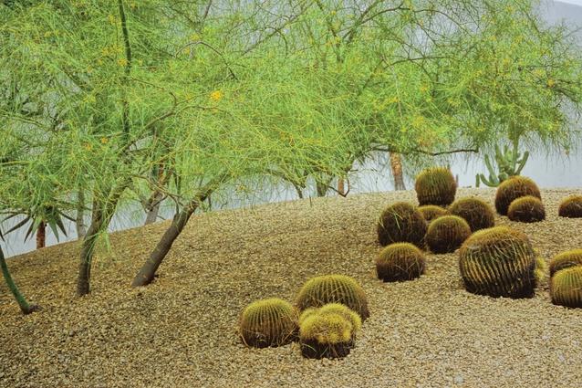 Isamu Noguchi's California Scenario garden in Costa Mesa, California, USA.
