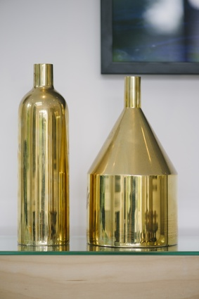 """Skultuna bottle: """"I like how this ages. It's brass, so it gets that patina over time. Then if I get tired of that look, I just give it a polish and it's back to new again. It's lovely."""""""