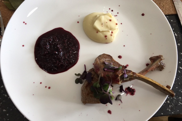 Main course: lamb chops with mulberry, pepper and manuka honey relish, parsnip puree and micro radish.