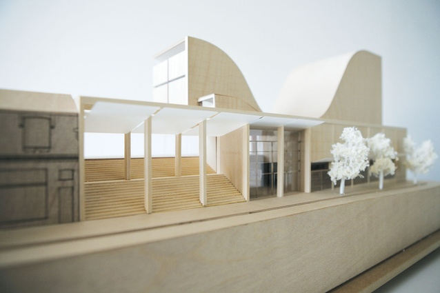Balsa models show how the building channels light into the interior.