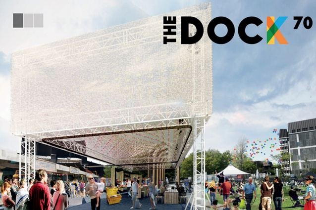 DOCK70: Winning competition entry for the Gap Filler Commons Shelter Challenge, 2015. Team: Maria Chen, Paul Anselmi, Sebastien Gapinski and Frederic Gapinski.