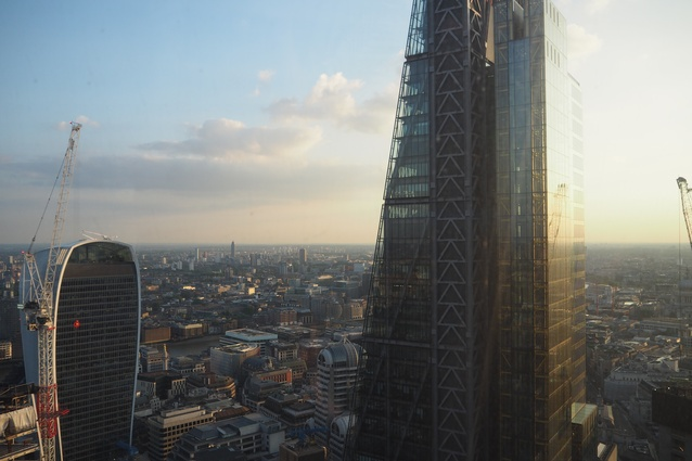 """The high-rise buildings of London: the """"Walkie-Talkie"""" by Rafael Viñoly Architects (left) and the """"Cheesegrater"""" by Roger Stirk Harbour Partnership (right)."""