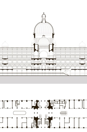 Queen Victoria Building plan and section, from <em>Public Sydney: Drawing the City</em>.