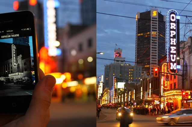 """Viewing the past in-situ using """"The Visible City"""" app (Vancouver, Oct 2013)."""