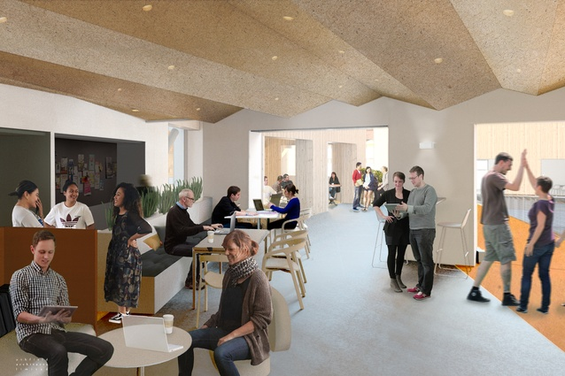 Interior render of the Rehua building, Uni of Canterbury, under construction by Athfields Architects. One of the many different types of informal student learning spaces in the building.