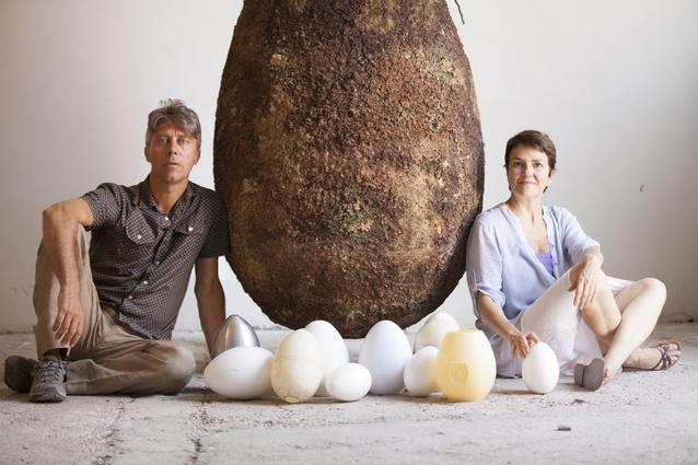 Raoul Bretzel and Anna Citelli with their Capsula Mundi design and urns.
