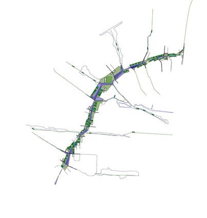 The masterplanned vision for Diepsloot, showing an environmental community spine.